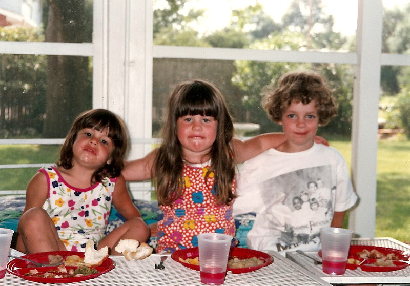 Kelly, Mandy, Maddie eating on Mom & Dad Cerne's back porch    7/92