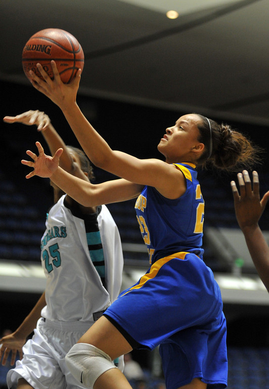. Bishop Amat\'s Mauriana Clayton (#23) goes up for a shot as they play Canyon Springs in the CIF-SS Division 1A girls basketball finals at the Anaheim Arena on Friday March1, 2013. Canyon Springs beat Bishop Amat 48-46. (SGVN/Staff Photo by Keith Durflinger)