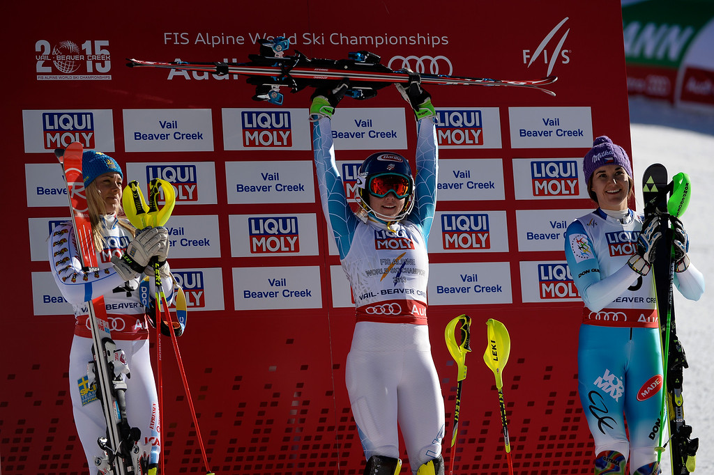 . USA\'s Mikaela Shiffrin (center) celebrates with silver medalist Frida Hansdotter of Sweden (left) and Sarka Strachova of the Czech Republic (right) after her gold-medal-winning run the ladies\' slalom. FIS Alpine World Ski Championships 2015 on Saturday, February 14, 2015. (Photo by AAron Ontiveroz/The Denver Post)