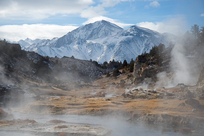 Steam rises from the geothermal Hot Creek on a chilly day in the high desert outside of Mammoth Lakes, California.