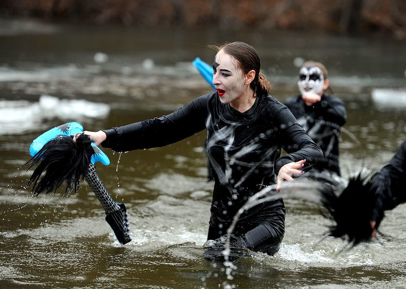 1/19/2019 Mike Orazzi | Staff Amanda Antonioli during the 14th annual Sloper Plunge at Camp Sloper's pond Saturday in Southington.