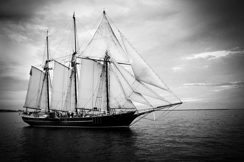 Old Style Sail Boat near Harbor