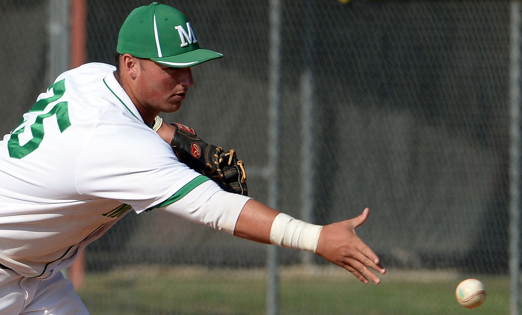 . Monrovia first baseman Jason Daly fields a ground ball by Alhambra\'s Andrew Prieto (not pictured) in the fourth inning of the Arcadia Elk Baseball Tournament at Monrovia High School in Monrovia, Calif., on Thursday, March 13, 2014. Monrovia won 2-0.  (Keith Birmingham Pasadena Star-News)