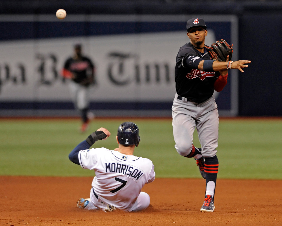 . Cleveland Indians shortstop Francisco Lindor, right, throws to first base to complete a double play on Brad Miller after forcing out Tampa Bay Rays\' Logan Morrison (7) during the fifth inning of a baseball game Thursday, Aug. 10, 2017, in St. Petersburg, Fla. (AP Photo/Steve Nesius)