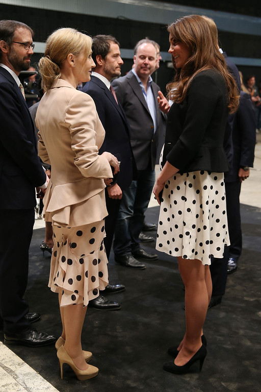 ". Britain\'s Kate the Duchess of Cambridge talks to British author J. K. Rowling, left, as she and her husband Prince William and his brother Prince Harry, not pictured, attend the inauguration of ""Warner Bros. Studios Leavesden\"" near Watford, approximately 18 miles north west of central London, Friday, April 26, 2013. (AP Photo/Chris Jackson, Pool)"