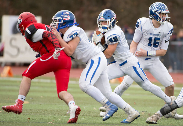11/28/19 Wesley Bunnell | Staff Southington football vs Cheshire in the Apple Valley Classic on Thanksgiving morning at Cheshire High School. RD Dillon Kohl (42) .