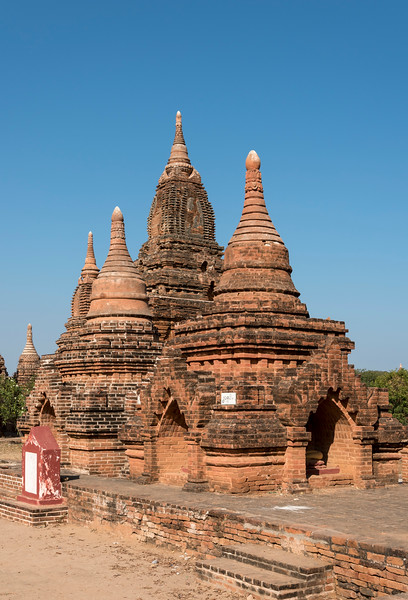 Group of restored stupas in Bagan, Burma - Myanmar