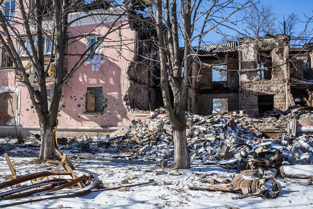 . MYRONIVSKYI, UKRAINE - FEBRUARY 17: A building lies in ruins from being hit by a shell on February 17, 2015 in Myronivskyi, Ukraine. A ceasefire agreed to by Ukraine and pro-Russian rebel forces has failed to prevent fighting in the nearby town of Debaltseve, where thousands of Ukrainian troops remain and whom rebels claim to have surrounded. (Photo by Brendan Hoffman/Getty Images)