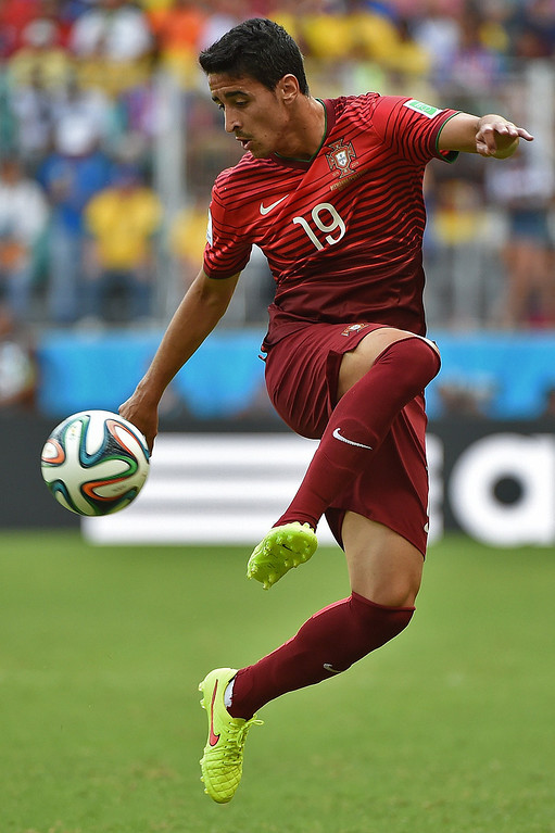 . Portugal\'s defender Andre Almeida plays the ball during the Group G football match between Germany and Portugal at the Fonte Nova Arena in Salvador during the 2014 FIFA World Cup on June 16, 2014.  AFP PHOTO / PATRIK  STOLLARZ/AFP/Getty Images