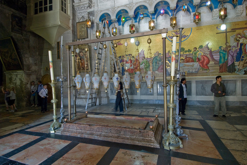 Burial stone inside the Church of the Holy Sepulchre in Jerusalem, Israel