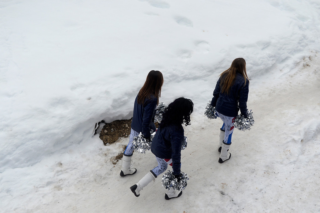 . BEAVER CREEK, CO - FEBRUARY 15: Cheerleaders walk beside Redtail Stadium during the men\'s slalom. FIS Alpine World Ski Championships 2015 on Sunday, February 15, 2015. (Photo by AAron Ontiveroz/The Denver Post)