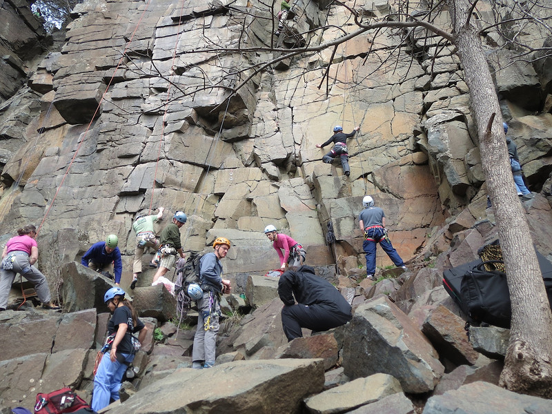 Some Rovers rock climbing at Interstate State Park Minnesota.