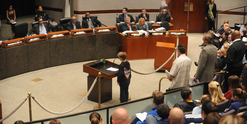 . 2-12-2013--(LANG Staff Photo by Sean Hiller)- Swimmers, divers and members of the community attend Tuesday\'s Long Beach City Council meeting to participate in the discussion to build a temporary Belmont Pool in advance of building a replacement for the old pool, which has been deemed seismically unsafe.