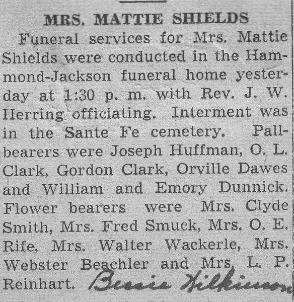 Newspaper clippings - Funneral Service for Mattie Shields.jpg