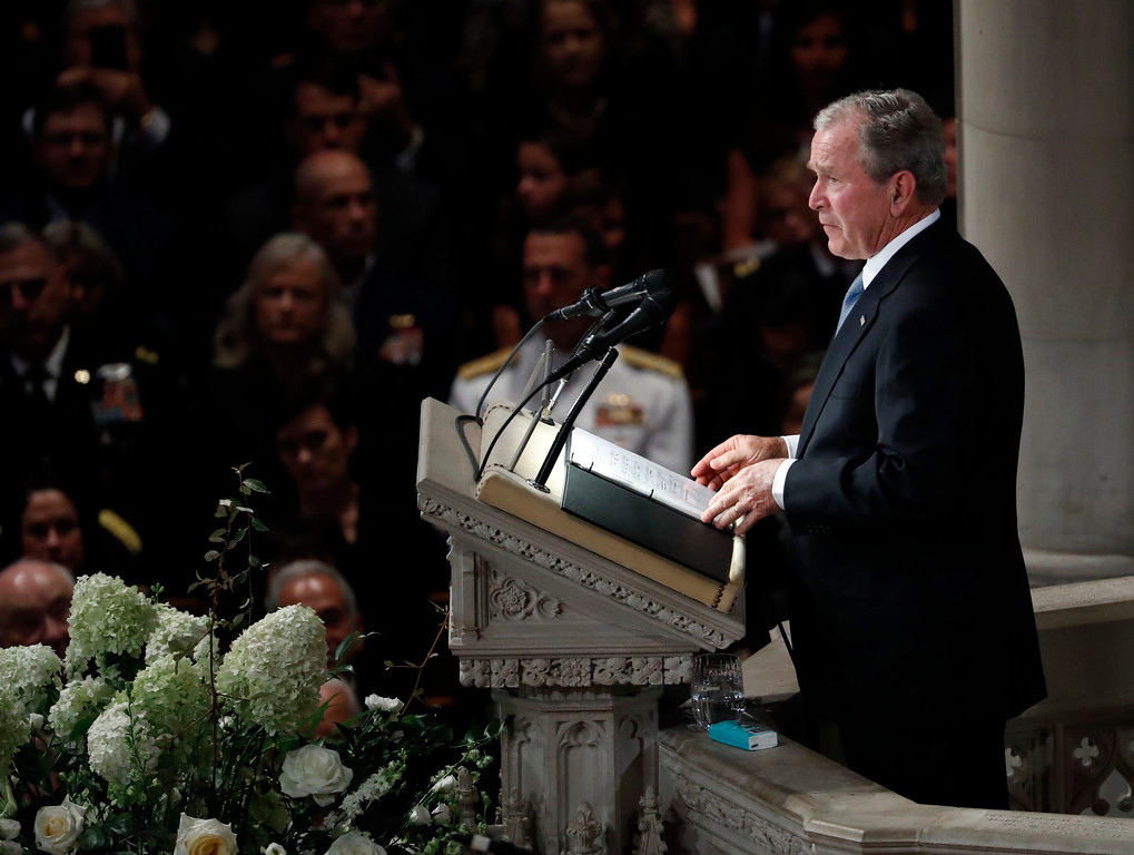 . Former President George W. Bush speaks at a memorial service for Sen. John McCain, R-Ariz., at Washington National Cathedral in Washington, Saturday, Sept. 1, 2018. McCain died Aug. 25, from brain cancer at age 81. (AP Photo/Pablo Martinez Monsivais)