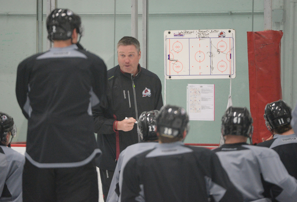. Patrick Roy, head coach of Colorado Avalanche, is in the team practice for the the first round of the playoff game against Minnesota Wild at Family Sports Center. Centennial, Colorado. April 15. 2014. (Photo by Hyoung Chang/The Denver Post)