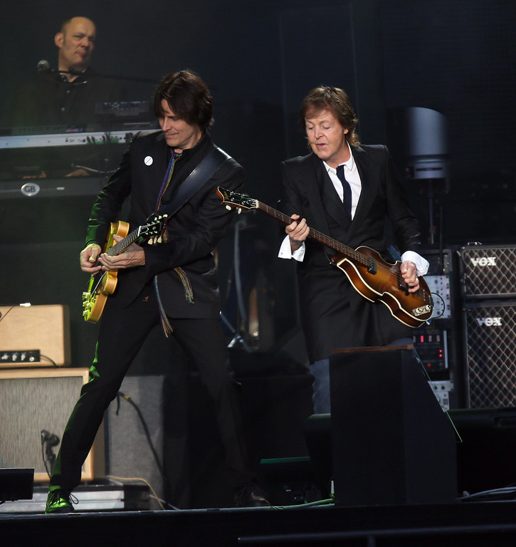 . Paul McCartney jams on bass with guitarist Rusty Anderson as he headlines on the Land\'s End stage during the 6th annual Outside Lands Music and Arts Festival in Golden Gate Park in San Francisco, Calif., on Friday, Aug. 9, 2013.  (Jane Tyska/Bay Area News Group)