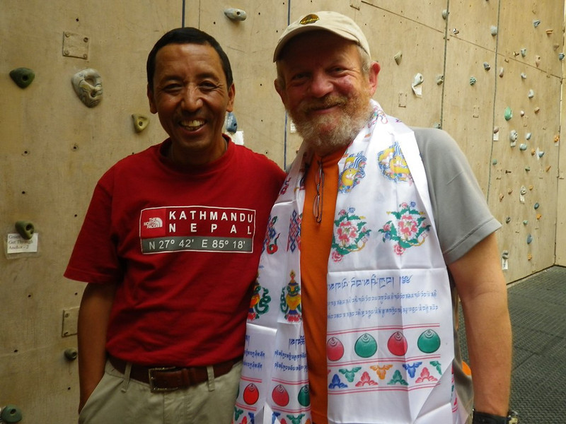 With Apa Sherpa (21 time Everest summiter - world recorder) at Asian Trekking headquarters on May 25.