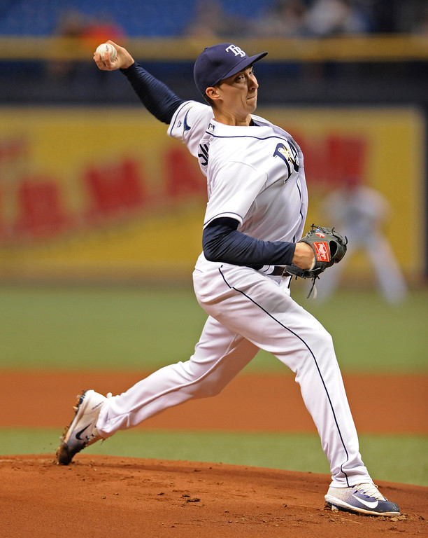. Tampa Bay Rays starter Blake Snell pitches against the Cleveland Indians during the first inning of a baseball game Thursday, Aug. 10, 2017, in St. Petersburg, Fla. (AP Photo/Steve Nesius)