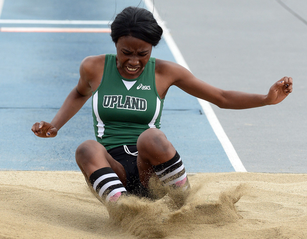 . Upland\'s Prisca Diala competes in the division 1 triple jump during the CIF Southern Section track and final Championships at Cerritos College in Norwalk, Calif., Saturday, May 24, 2014.   (Keith Birmingham/Pasadena Star-News)