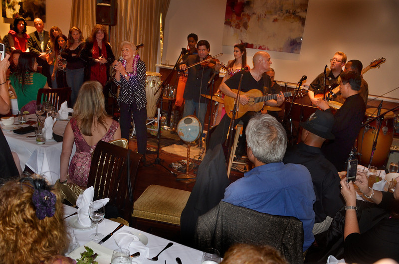 Pearl Clarke singing at opening night party for Freddy Clarke's Wobbly World and his mother Pearl's birthday, at Maestro's Restaurant (formerly STARS).PERFORMERS:- Fely Tchaco, Ivory CoastFrench and Guoro Vocals- Georges Lammam, LebanonArabic Vocals / Violin- Erick Barberia, CubaBata / Yoruba and Spanish Vocals- Candido, NigeriaPercussion / Yoruba Vocals - Mingyuan Yuan, ChinaMandarin Vocals / Erhu - Vassil Bebelekov, BulgariaGaida - Scott Thompson, USBass - David Tucker, USDrums - Freddy Clarke, Menlo ParkGuitar / Vocals
