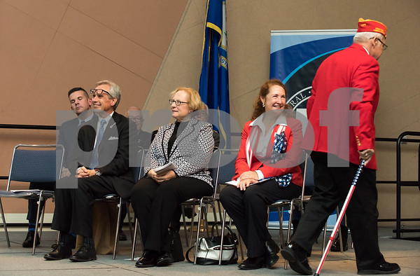 11/09/17 Wesley Bunnell | Staff CCSU held a Veterans Day Observance Ceremony on Friday afternoon in Alumni Hall. Congresswoman Elizabeth Esty smiles as CCSU alumn and Marine Corps veteran Salvatore V. Sena Sr. walks offstage after receiving an award.