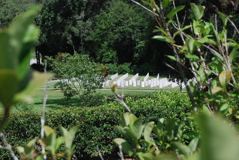 View of grave sites at Florida National Cemetery in Bushnell, Florida