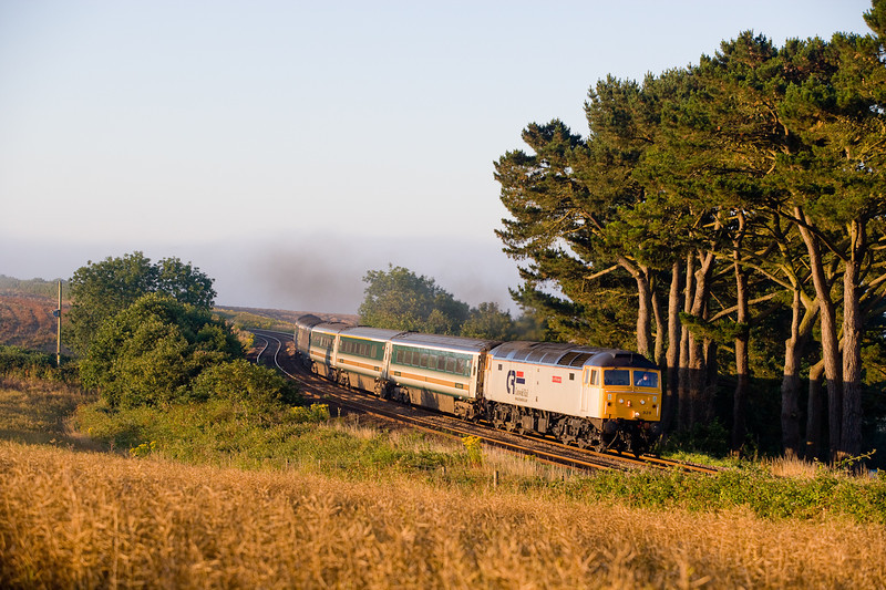 240706 47828 stands in for a 57 again on 1C99 the Padd-Penz sleeper the train passes Trerulefoot just after the early morning fog has lifted