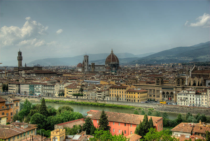 View of the city skyline with Florence Cathedral dome and Giotto's bell tower - Florence, Italy