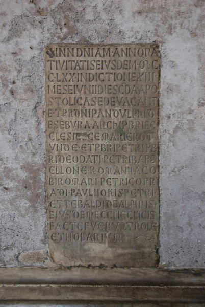 Ancient writings at Pantheon in Rome, Italy