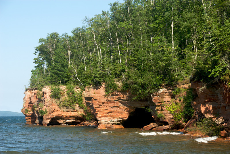 Sea caves on Sand Island, visible from shore, which is unusual. Normally you need to be in a boat.