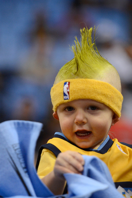 . DENVER, CO. - APRIL 23: Landon Berry, 2, from Denver gets ready to cheer for the Nuggets before the game. The Denver Nuggets took on the Golden State Warriors in Game 2 of the Western Conference First Round Series at the Pepsi Center in Denver, Colo. on April 23, 2013. (Photo by John Leyba/The Denver Post)