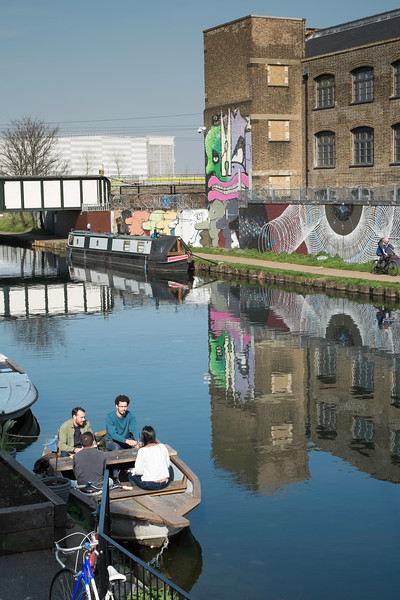 View along Lee River Navigation, Hackney, E9, London, United Kingdom
