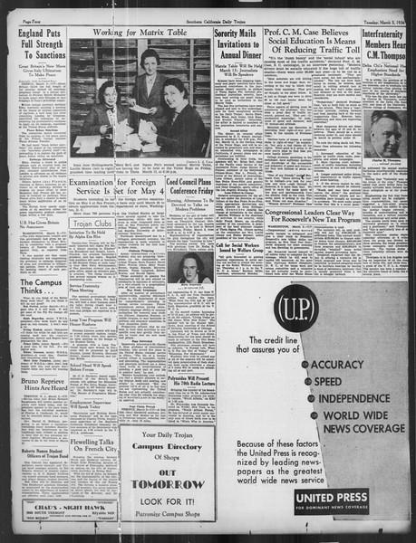 Daily Trojan, Vol. 27, No. 90, March 03, 1936