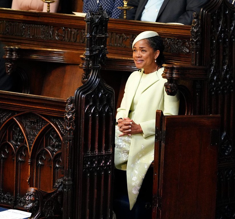 . Doria Ragland takes her seat, prior to the start of the wedding ceremony of Prince Harry and Meghan Markle at St. George\'s Chapel in Windsor Castle in Windsor, near London, England, Saturday, May 19, 2018. (Dominic Lipinski/pool photo via AP)