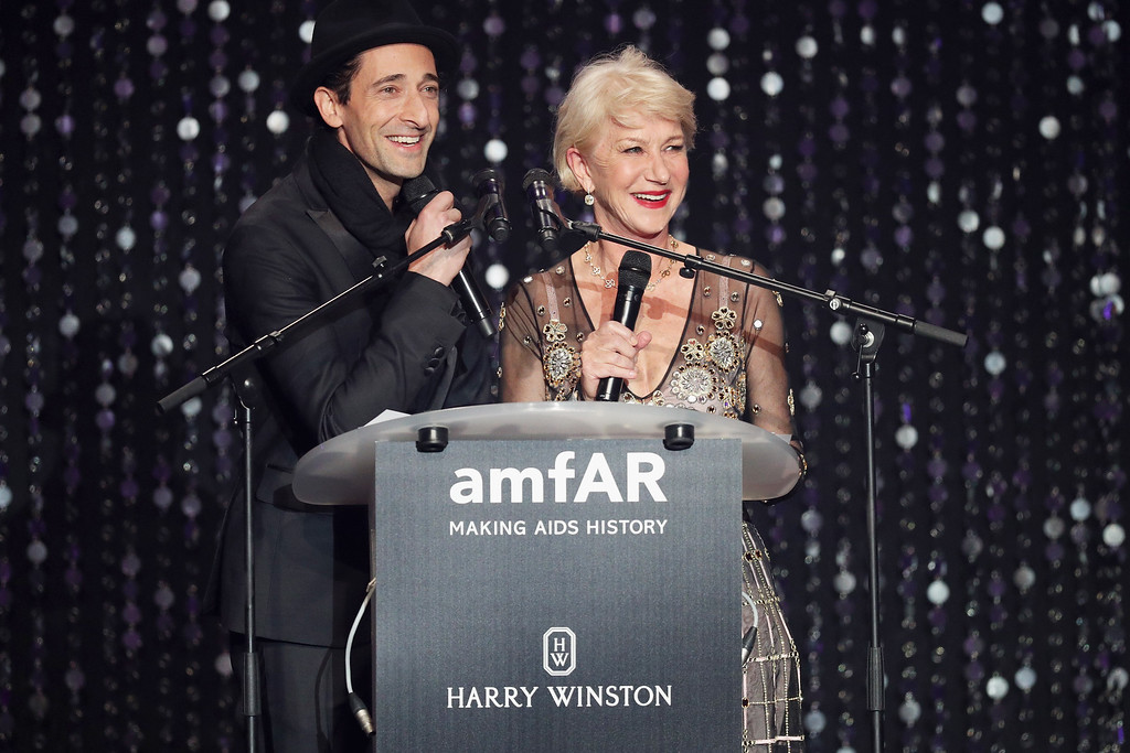. CAP D\'ANTIBES, FRANCE - MAY 19:  Adrien Brody and Helen Mirren appear on stage at the amfAR\'s 23rd Cinema Against AIDS Gala at Hotel du Cap-Eden-Roc on May 19, 2016 in Cap d\'Antibes, France.  (Photo by Andreas Rentz/Getty Images)
