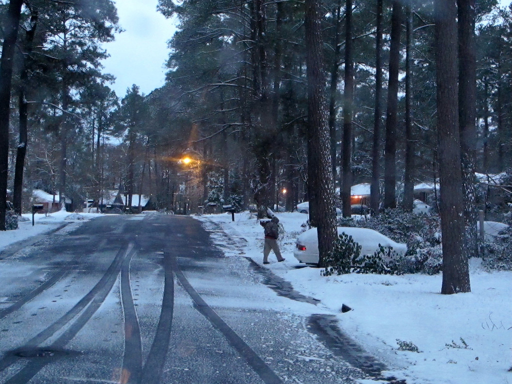 . Snow coats a neighborhood in Columbia, S.C., on Wednesday, Jan. 29, after an infrequent snowstorm moved through the area. The Columbia area received two to three inches of snow from the storm that closed schools, government offices and businesses. (AP Photo/Bruce Smith)