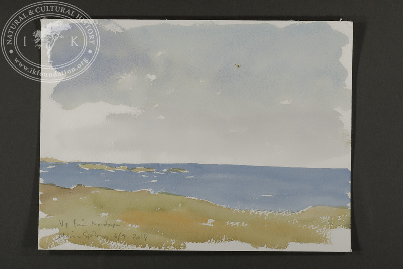 "Panorama sketch at Nordøya. Prins Karls Forland in the back left. | 6.9.2018 | ""I want to convey what I see with immediacy and simplicity to make the viewer feel present on the Arctic scene."" 