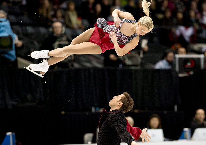 . Kirsten Moore-Towers and Dylan Moscovitch, of Canada, during the pairs short program at the World Figure Skating Championships in London, Ontatio, on Wednesday, March 13, 2013. (AP Photo/The Canadian Press, Paul Chiasson)