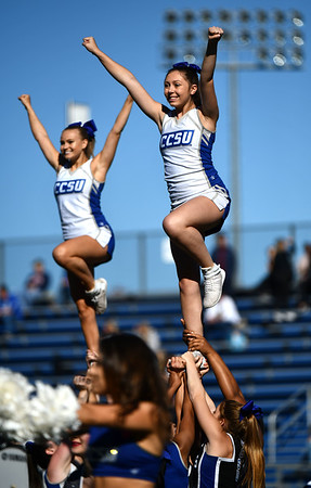 10/19/2019 Mike Orazzi | StaffrCentral Connecticut State University cheerleaders during Saturday's football game with Bryant in New Britain.