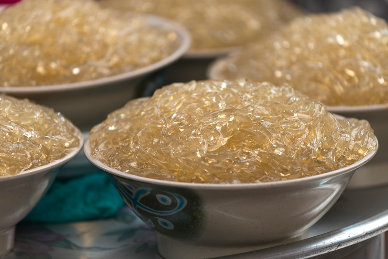Close-up of Korean glass noodles in bowls, Seoul, South Korea