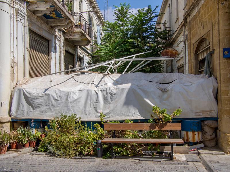 Barricade between Greek and Turkish parts of old Nicosia