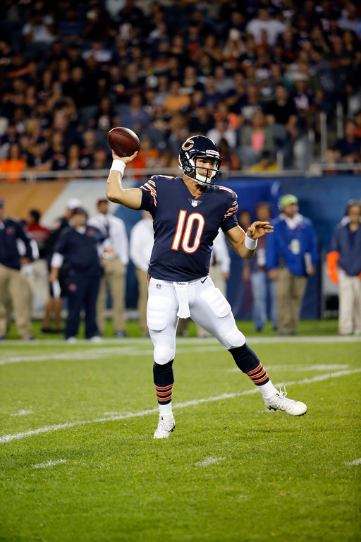 . Chicago Bears quarterback Mitchell Trubisky (10) throws a pass during the first half of an NFL preseason football game against the Denver Broncos, Thursday, Aug. 10, 2017, in Chicago. (AP Photo/Charles Rex Arbogast)