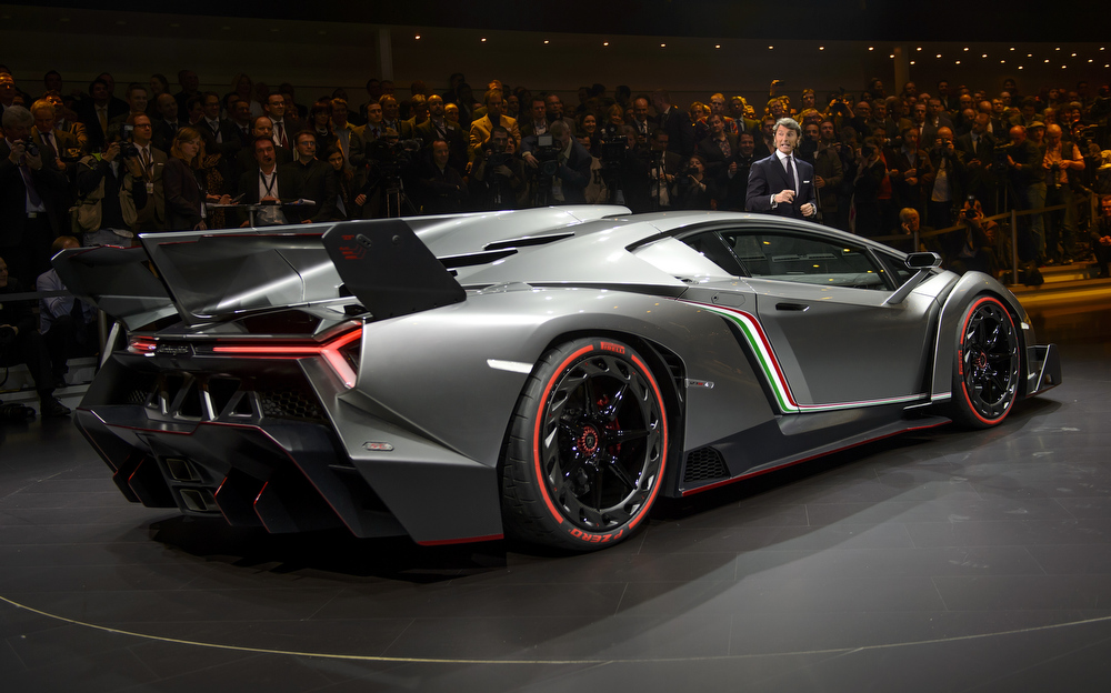 . The new Lamborghini Veneno is introcuded by CEO and Chairman Stephan Winkelmann during a preview of Volkswagen Group on March 4, 2013 ahead of the Geneva Car Show in Geneva.  FABRICE COFFRINI/AFP/Getty Images
