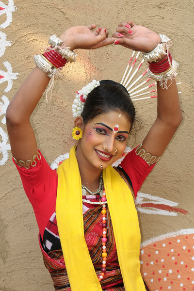 Artists and performers from Dayal Sangeet Academy, Rasulgarh, Bhubaneshwar, Orissa. This girl artist performed the Odissi Classical dance and Sambalpuri Folk dance at the Surajkund Crafts Mela 2009, Haryana, North India.