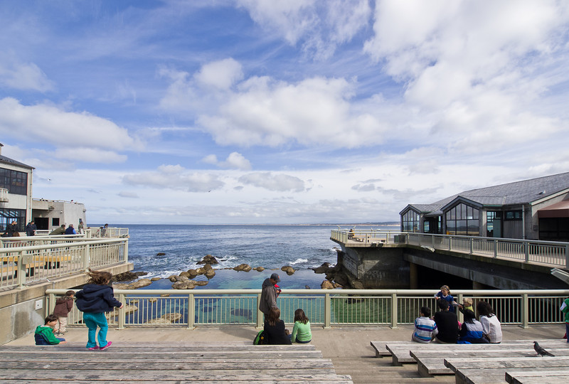 A kid jumps on the benches at the Monterey aquarium.
