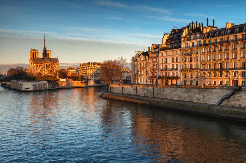 Notre Dame and Seine River, Paris, France.
