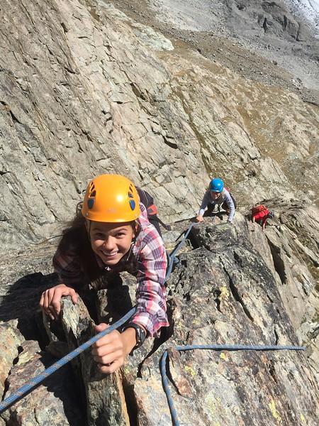 Whitney and Elsie climbing Egge on Riffelhorn