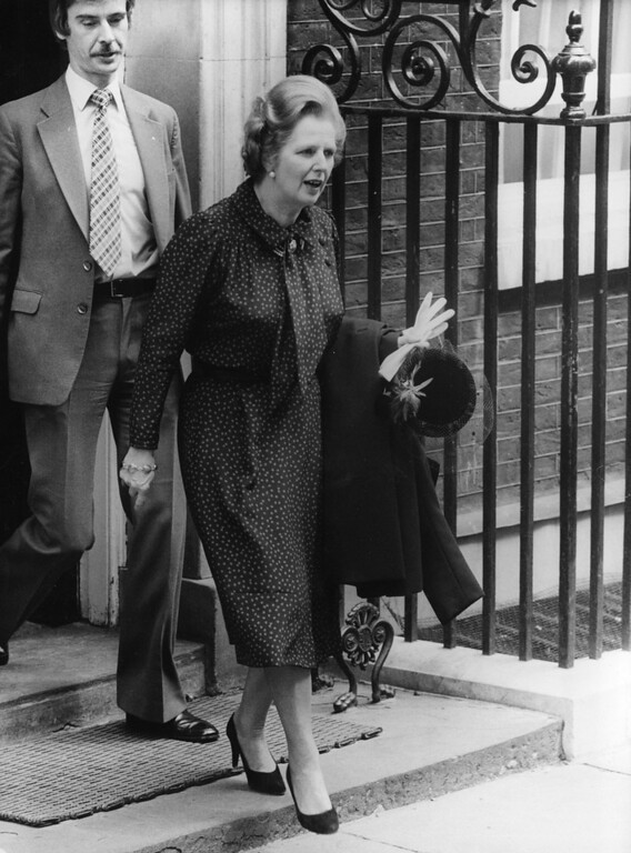 . British prime minister, Margaret Thatcher, leaving Downing Street after the announcement that British Forces have landed on the Falkland Islands.  (Photo by Central Press/Getty Images)