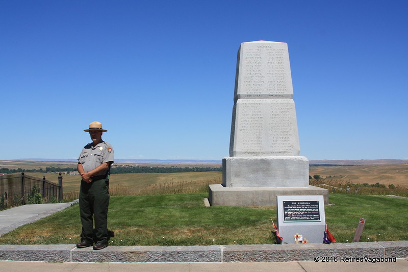 The US Soilders memorial with a Ranger standig near